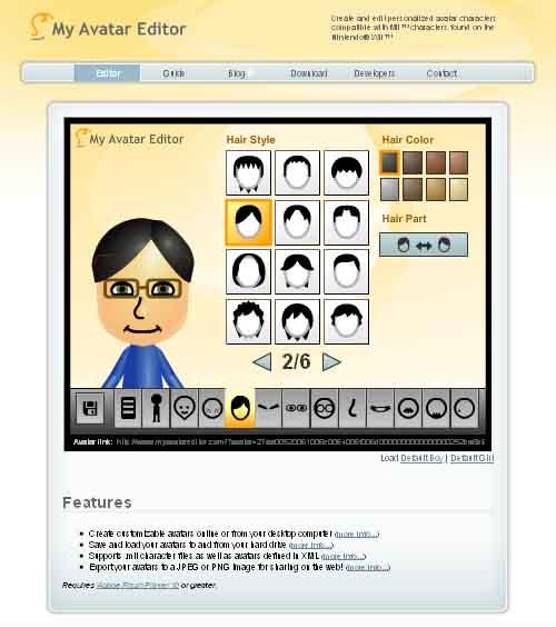 オンラインで簡単にアバターが作成できる、My Avatar Editor