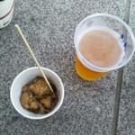 生ビールと炭焼き鳥