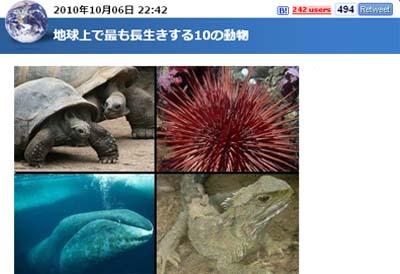 「地球上で最も長生きする10の動物」ってのを見て(^_^.)